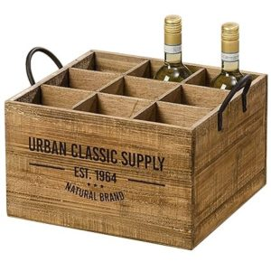 Arredamento, decorazione – cassetta portabottiglie da vino – rustico, vintage – materiale: legno – colore: marrone naturale – dim. ca 40 cm
