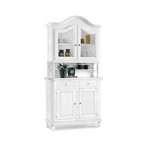 InHouse srls Mobile con cristalliera, Arte povera, in Legno massello e MDF con rifinitura in Bianco Opaco – Mis. 112 x 45 x 220