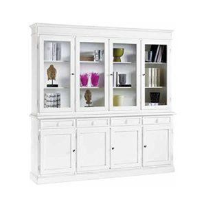 InHouse srls Mobile con cristalliera,Arte povera, in Legno massello e MDF con rifinitura in Bianco Opaco – Mis. 205 x 42 x 205