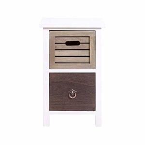 Rebecca Mobili Comodino piccolo bianco marrone, cassettiera 2 cassetti Urban, legno marrone bianco, vintage shabby, per camera da letto bagno – Misure: 47 x 31 x 27 cm (HxLxP) – Art. RE4314