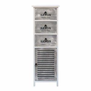 Rebecca Mobili Comodino alto, mobiletto bagno cucina, bianco, design shabby, con 3 cassetti e 1 anta, arredamento casa – Misure: 102 x 32 x 27 cm (HxLxP) – Art. RE6089