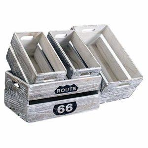 Rebecca Mobili Set 4 Cassette Frutta Vintage, scatole portaoggetti Decorate, Legno Paulownia, Bianco Shabby, per casa Giardino – Misure: 15 x 35 x 22 cm (HxLxP) – Art. RE4590