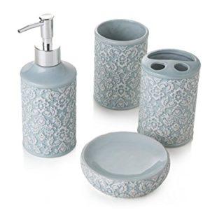 Vintage Shabby Chic Bianco Porta Saponetta Porta Scopino Porta Spazzolino Dosatore Dispenser Sapone BuyStar Set di Accessori per Bagno Ceramica Decorata
