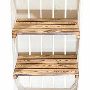 Set di casse con scaffali con 2 scaffali intermedi fiammati, 75 x 40 x 31 cm, colore bianco (set da 1,2,6,9,12)