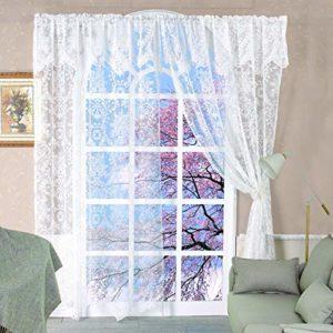 Pizzo tende per finestre 2PCS confezione tende 152 x 228 cm, bianco