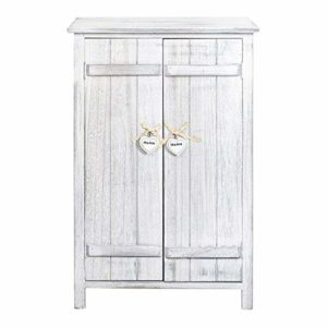 Rebecca Mobili Comodino con 2 ante, Mobiletto credenza da terra, 3 ripiani interni, bianco, shabby chic, per cucina bagno – Misure: 78 x 51 x 31 cm (HxLxP) – Art. RE4573