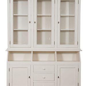 Biscottini Libreria Country in legno massello di tiglio finitura bianca anticata 172x50x226 cm