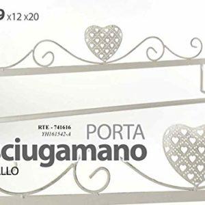 GICOS IMPORT EXPORT SRL Porta Telo Asciugamani Bagno in Metallo da Parete 69 * 12 * 20 cm Cuore Shabby Chic RTE-741616